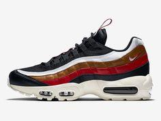 Już niedługo w sklepach pojawi się nowa wersja butów Nike AIr Max 95 ze specjalną tasiemką na języku, na cholewce widzimy kilka warstw kolorowej skóry .