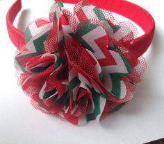 Red White Green #Christmas #Chevron Wrapped #Headband #Etsy #CupcakesClipShop