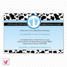 cow blue baby shower invitation
