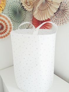 18cd3ec0d49 Extra large toy basket for kids bedroom and nursery. White and silver stars  laundry hamper