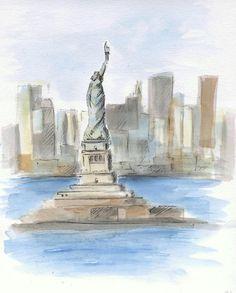 Statue of Liberty sketch. Liberty Island. Manhattan by madareli