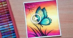 Easy Butterfly Scenery Drawing with Oil Pastels - Step by Step Oil Pastel Drawings Easy, Oil Pastel Paintings, Oil Pastel Art, Oil Pastels, Fish Drawings, Abstract Drawings, Cool Drawings, Pencil Drawings, Abstract Oil