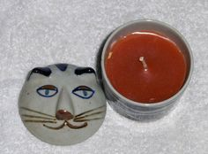 Vtg Takahashi Japan Ceramic Cat Figurine Candle Holder Kitty With Scented Candle