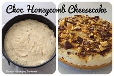 The road to loving my Thermomix: Choc Honeycomb Cheesecake Thermomix Cheesecake, Thermomix Desserts, Cheesecake Recipes, Dessert Recipes, Bellini Recipe, Aussie Food, Cake Board, Love Food, Food Print