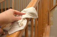How to Paint / Stain Wood Stair Railings (Oak Banisters & Spindles) WITHOUT SANDING! Painted Stair Railings, Oak Banister, Wood Railings For Stairs, Diy Stair Railing, Painted Staircases, Wood Staircase, Painted Stairs, Banisters, Interior Railings