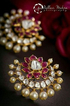 Chaandbali lotus studs rubies, diamonds and pearls