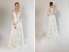 Obsessed with lace wedding dresses? The Pasadena from Claire Pettibone could be a dream come true for you. The illusion detail on the bodice and back is really striking.