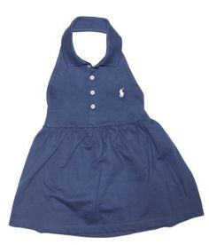 NWT Ralph Lauren Girls Smocked Back Polo Sleeveless Mesh Navy Blue Halter Top L #RalphLauren #Everyday