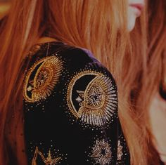 The uniqueness of red. | Long red hair. Reflects gold thread in embroidery on jacket. | Source: messgala: Emilio Pucci A/W 15 | Pinned via sheslikeaghost