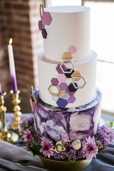 How To Have A Neon And Ultraviolet Wedding Day How To Have A Neon And Ultraviolet Wedding Day Looking To Light Up The Night This Wedding Shows You How Purple And Gold Geometric And Watercolor Cake Weddingcake Geometric Purple Marble Metallic Wedding Cakes, Purple Wedding Cakes, Amazing Wedding Cakes, Elegant Wedding Cakes, Wedding Cake Designs, Rustic Wedding, Cake Wedding, Industrial Wedding, Wedding Flowers