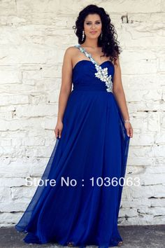 Online Selling Best Sweetheart One Shoulder Royal Blue Evening Dress Crystal Plus Size Formal Gowns 2014 US $113.00