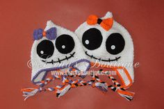 Cute Spooky Crocheted Halloween Ear flap Hat - Girly Ghost / Skeleton Hat with Bow for Girls - Newborn- 5T- Made To Order