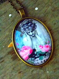 Bronze necklace oval pendant romantic pendant by AgnesJewelries