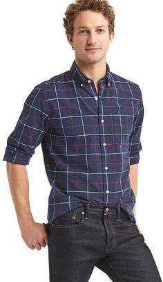 d3be3058789 Gap Oxford tattersall plaid standard fit shirt Cotton Shirts For Men