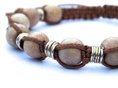 Mens Wooden Macrame Twist Bracelet FREE UK by PhillipaJaneDesigns