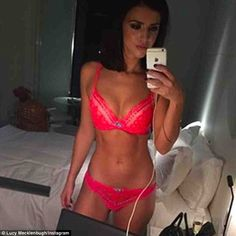 Flaunting her figure: Former TOWIE star Lucy Mecklenburgh teased her Instagram followers with a sultry snap of herself wearing nothing but hot pink underwear on Saturday night