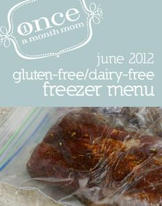Freezer Gluten Free Dairy Free Menu. Grocery lists, instructions, recipe cards, labels.