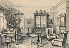 Library Suite Fireplace for warmth, bookcase and writing desk for entertainment, large window to let light in, furniture typical of the period www.edwardianpromenade.com