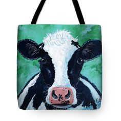 BUTTERCUP Tote Bag for sale by T Fry-Green. $26.00 The tote bag is machine washable, available in three different sizes, and includes a black strap for easy carrying on your shoulder.  All totes are available for worldwide shipping and include a money-back guarantee. #buttercup #moo #animal #cow #blackandwhite #green #fashionbag #tfrygreenart #tfrygreen #homeatlaststudio #art #original #tote #toteart #fineartamerica