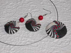 Keramik Schmucksets - Schmuckset schwarz-weiß-rot - ein Designerstück von…