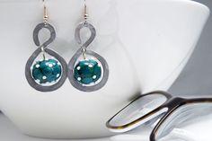 geometric earrings modern emerald  earrings aluminium by amabito, €15.00
