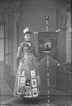 Marie Edwards in ad display for Edwards Brothers Photographers, Albert Lea. 1888
