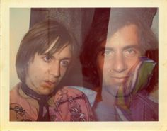 "Iggy Pop & Danny Fields c.1969-70 Brigid Berlin (Polk) Polaroid. Fields got Stooges, MC5 + Ramones signed & made The Doors first hit happen! Brigid's VU tapes became the Velvet Underground's ""Live at Max's 1969""LP. She obsessively documented Factory life & was close with Warhol since 1964. He famously said all of his paintings were her work - as a stunt in 1969. Brigid started officially working for him in 1975 and appears in many Warhol films incl.. Chelsea Girls &  Ciao! Manhattan."