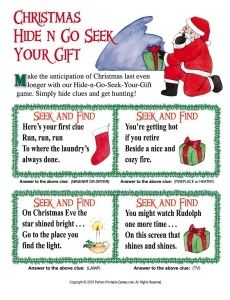 """christmas scavenger hunt HIDE AND GO SEEK YOUR GIFT. how fun would that be to not have presents under the tree when your kids wake up christmas morning and instead a hide and seek game """"santa"""" left! Christmas Gift Riddle Hunt, Christmas Gift Riddles, Christmas Family Feud, Christmas Scavenger Hunt, Printable Christmas Games, Scavenger Hunt For Kids, Christmas Party Games, Christmas Activities, Christmas Traditions"""