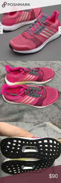 Adidas ultra boost St running shoes shock pink Shocking pink, halo pink, and mineral red is the colors, they are in excellent preowned condition with very little signs of wear Adidas Shoes Athletic Shoes