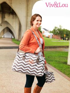 Viv & Lou Taupe Chevron Travel Collection #Monogram #Chevron #Vacation #Travel