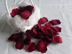 Red Silk Rose Petals to decorate the floors, a little darker red to mix up the color a little. Rose Petals Wedding, Silk Rose Petals, Wedding Flowers, Wedding Day, Flower Girl Basket, Flower Girls, Deep Burgundy, Red Silk, White Flowers