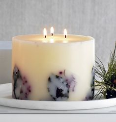 white company fir and berry large botanical candle