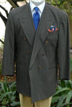 Hugo Boss $1195 Deep Olive Stripe Wool Sport Coat Blazer 44R 44 R #HugoBoss #DoubleBreasted