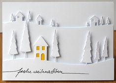 """Cardstock: Weiß,Karte C6,Bazzill Cardstockin Gelb Stanzschablonen:Memory Box Stanzschablone – Cottage in the Woods,Memory Box Stanzschablone – Country Landscape Stempel:Karten-Kunst Schriftzug""""Frohe Weihnachten"""" Stempelkissen:Memento Tuxedo Black, Embellishments:Stickles"""