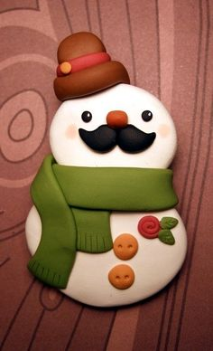 Snowman with a Mustache Brooch Pin - Kawaii Polymer Clay Jewelry - Handmade by The Happy Acorn