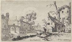 Gillis van Scheyndel (I)   Boerderij en toren aan een rivier (het Gehoor), Gillis van Scheyndel (I), Johannes Pietersz. Berendrecht, 1618 - 1645   Het gehoor. Aan een rivier liggen een boerderij, een toren en andere gebouwen. Tegen de toren staat een ladder waarbij een vrouw en twee mannen. Over het water loopt een brug en op de rivier twee figuren in een boot. Op de voorgrond twee schapen. De prent maakt deel uit van een serie van landschappen met de vijf zintuigen.