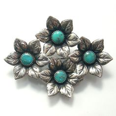 Vintage Sterling Silver Turquoise Flower Brooch Measuring 2 x 1 1/2 Inches With Four Round Turquoise Cabochons Circa 1930's to 1940's (85.00 USD) by GregDeMarkJewelry