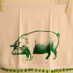 Find This Pin And More On Sewing_utilitarian. Items Similar To Pig Kitchen  Towel Green ...