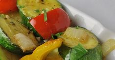A delicious mix of fresh zucchini and yellow and red bell peppers are cooked in butter and olive oil. Jalapeno pepper and garlic add a fragrant zing. Veggie Side Dishes, Side Dish Recipes, Lunch Recipes, Vegetable Recipes, Healthy Dinner Recipes, Great Recipes, Cooking Recipes, Favorite Recipes, Sauteed Vegetables