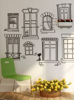 Another cool wall deco Wall Sticker Design, Sticker Designs, Vinyl Designs, Doodle Wall, Window Wall, Window Decals, Window Stickers, Window Boxes, Window Frames