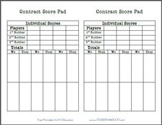 graphic about Printable Bridge Score Sheets named Pinterest