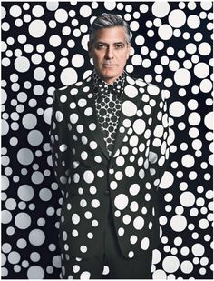 George Clooney in a Giorgio #Armani suit, shirt, and shoes, customized by the artist Yayoi Kusama