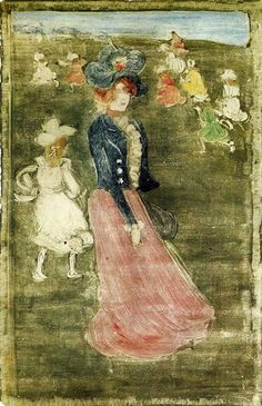 Lady in a Pink Skirt, 1897 by Maurice Prendergast. Impressionism. portrait