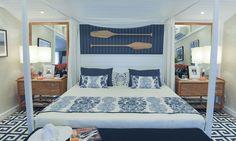 Inspirado no tema Apaixonados pelo mar, a designer de interiores Andrezza Alencar projetou o Quarto de praia do casal.