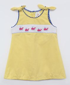 Look what I found on #zulily! Yellow Whales Smocked A-Line Dress - Infant, Toddler & Girls #zulilyfinds