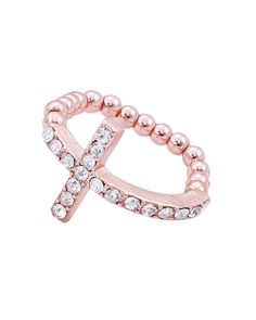 "ZR0047  Crystal covered crystal elastic band ring.    -plated base metal, crystal  -width: 5/8""  - ZR0047-ROSE GOLD"