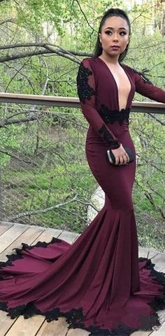 32345379713 Mermaid Deep V-neck Long Sleeves Black Lace Prom Dress PD0710  2019prom   prom