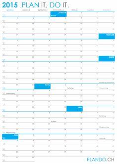 Halbjahreskalender 2015 im Hochformat als PDF herunterladen und ausdrucken | PLANDO.CH #Kalender
