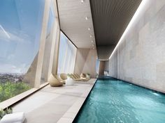 enchanting indoor lap pool with a view
