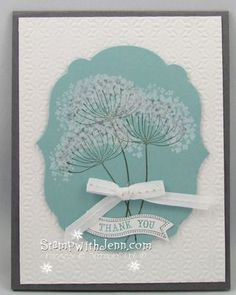 One of my favourite Stampin' up stamp sets: Summer Silhouettes. I made this card to look like Queen's Anne Lace. More ideas at www.stampwithjenn.com